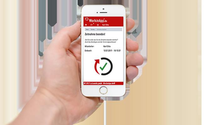 Handwerkersoftware-Zeiterfassung-Zeitnahme beendet-Smartphone Klicken